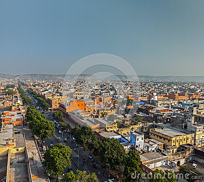 Aerial view of Jaipur  (Pink city), India
