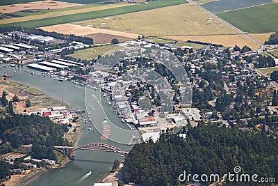 Aerial view of La Conner Washington