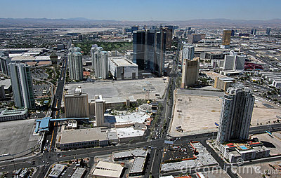 Aerial View of Las Vegas Blvd & Paradise Rd Editorial Photo