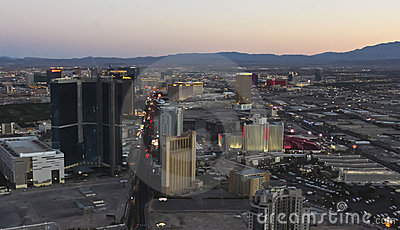 An Aerial View of Las Vegas at Twilight Editorial Image