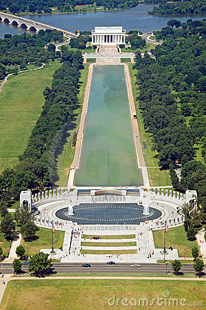Aerial view of Lincoln memorial in Washington DC