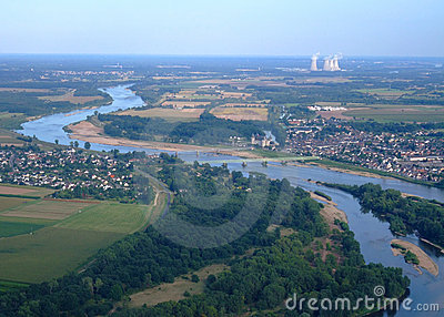 Aerial view of Loire river