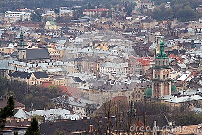 Aerial view of Lviv