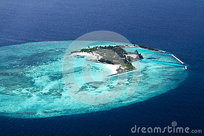 Aerial view of  Maldive islands