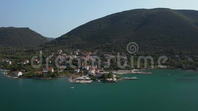Aerial view of Mali Ston Bay. Aerial view of the Mali Ston Bay on Peljesac peninsula with a small fishing village Hodilje stock footage