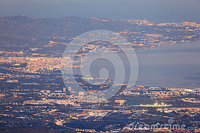 Aerial view of Marbella coast at night, Spain