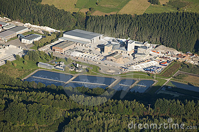 Aerial view : Marble industry and water treatment
