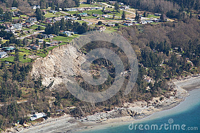 Aerial Whidbey Island Muddslide Editorial Photo
