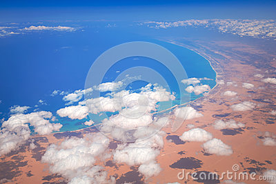 Aerial view of Mediterranean sea coastline