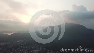 Aerial view misty morning stock footage