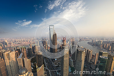 Aerial view of modern metropolis in shanghai