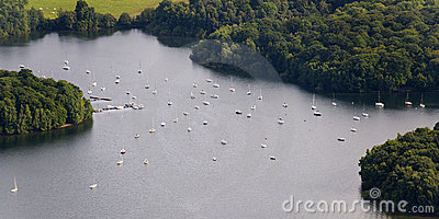 Aerial View : Mooring sail boats in a lake