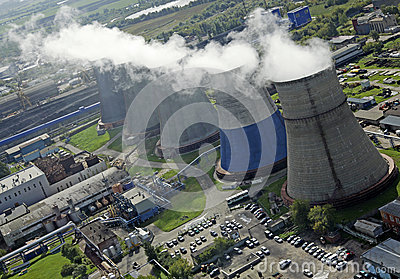 Aerial view of Moscow power generation station Editorial Image