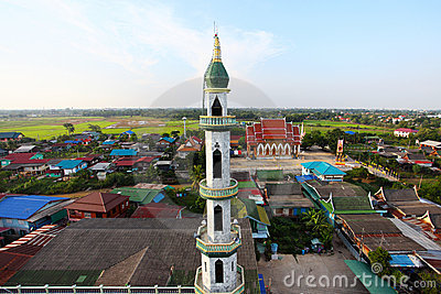 Aerial view of mosque among residential area