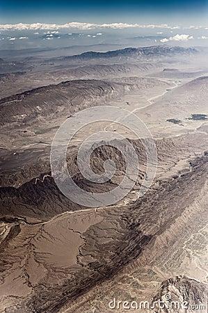 Aerial view of mountain ridge