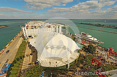 Aerial view of Navy Pier in Chicago, Illinois Editorial Photo