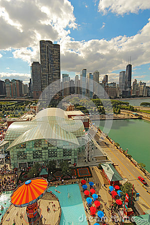Aerial view of Navy Pier and the Chicago, Illinois skyline Editorial Stock Image
