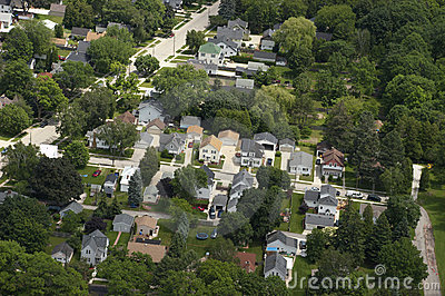 Aerial View Neighborhood Houses, Homes, Residences