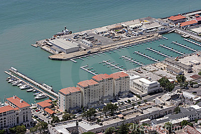 Aerial view of new harbour in Gibraltar, Europe