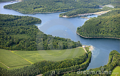 Aerial View : Nice lake in the countryside