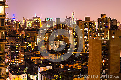 Aerial View at Night, New York City