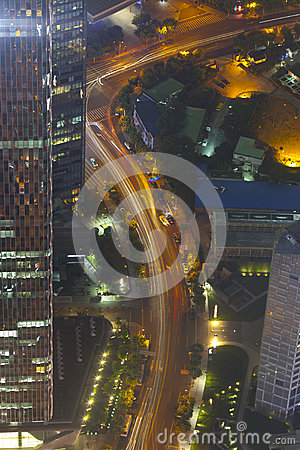 Aerial view of night shanghai transportation