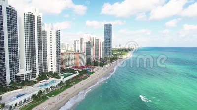 Aerial view North Miami Beach. Flying over North Beach`s white sandy beach with clear blue tropical ocean waters, Aerial view, Miami, Florida, USA