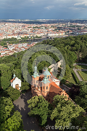 Free Aerial View Of A Church At The Petrin Hill In Prague Royalty Free Stock Photos - 96576778