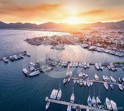 Free Aerial View Of Boats, Yachts, City At Sunset In Marmaris Stock Photos - 108919483