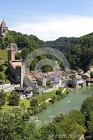 Free Aerial View Of Historic Downtown, City Fribourg Stock Photo - 36711480