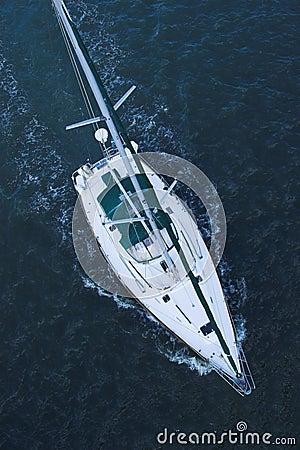Free Aerial View Of Sailboat At Sea Royalty Free Stock Photo - 2102615