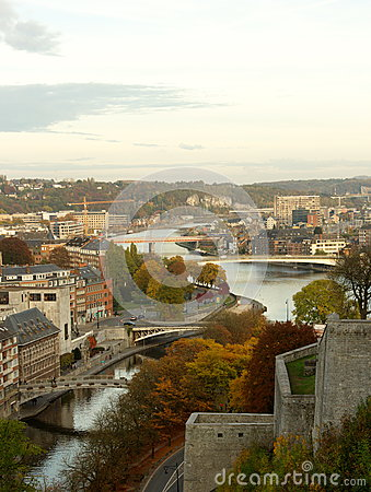 Free Aerial View Of The City And The Bridges Of Namur, Belgium, Europe Stock Image - 80219141