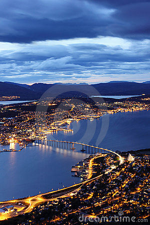 Free Aerial View Of Tromso Bridge And The Islands Near Stock Image - 21318391
