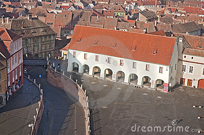 Aerial view of old architecture in Sibiu