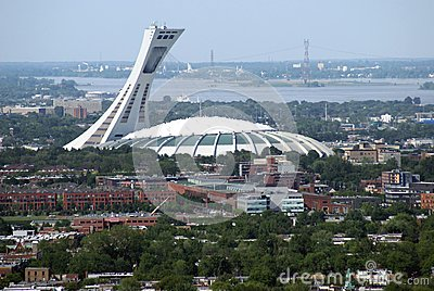 Aerial view of the olympic stadium montreal city in - Piscine maisonneuve montreal quebec rouen ...