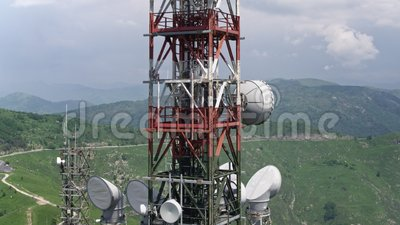 Aerial view of telecommunications towers antennas stock footage
