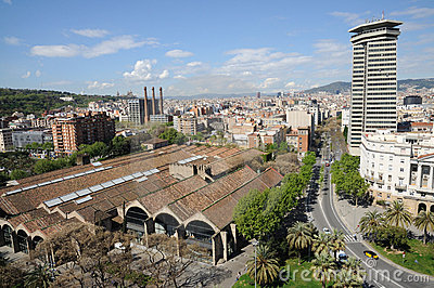 Aerial view over Barcelona Spain