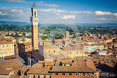 Aerial view over city of Siena