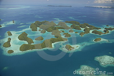 Aerial view of Palau s famous seventy islands