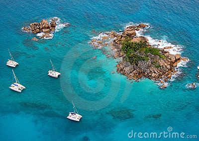 Aerial view of a paradise island