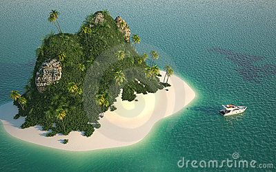 Aerial view of paradise island