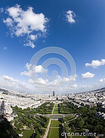 Aerial view paris france champ de mars park