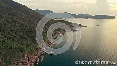 Aerial view on Phangan island rocky coastline stock video