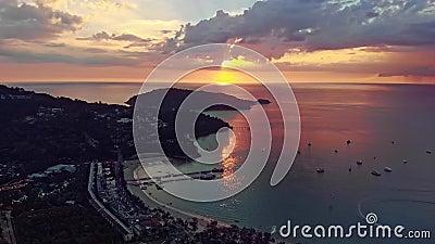 Aerial view of Phatong city and ocean at Phuket stock video
