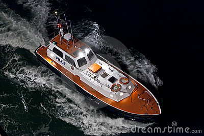 Aerial view of pilot boat at night