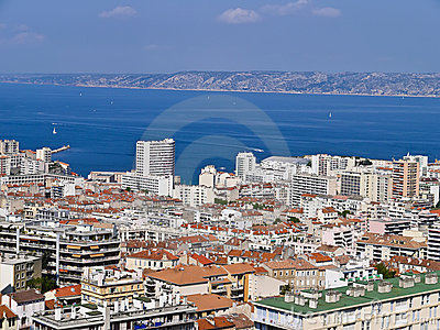 Aerial view Port of Marseille city , France