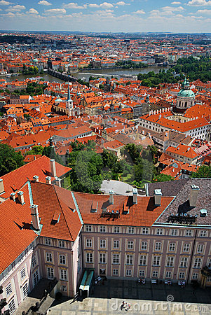 An aerial view of Prague