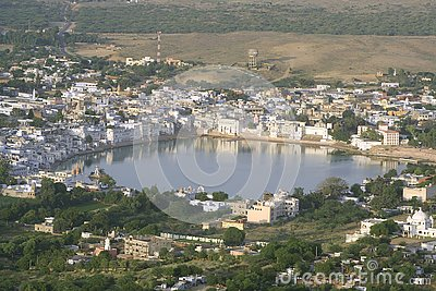 Aerial view of pushkar lake