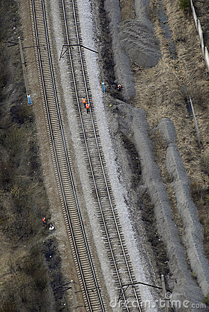 Aerial view of  railway lines with workers.