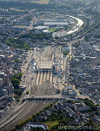 Aerial View : Railway station in a city